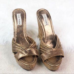Steve Madden Metallic Gold Wedge Sandals